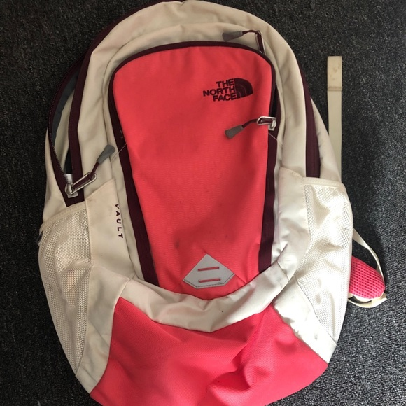 86b40c38e Cream and pink northface backpack